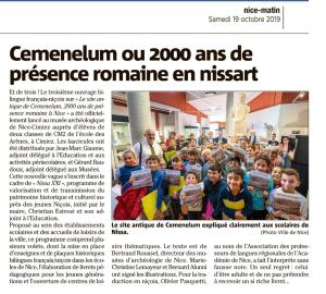 Article NM du 19 oct 2019 Cemenelum ou 2000 ans de présence romaine en nissart